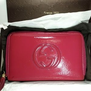 Gucci Soho Pink Patent Leather Wallet